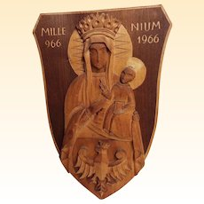 Madonna & Child Carved Wood Plaque...MILLE 966...NIUM 1966..Signed