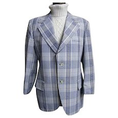 Men's  Blue & White Cotton Seersucker Plaid Sports Coat Jacket...Lancashire..1960's-70's..USA