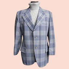 Men's  Blue & White Cotton Seersucker Plaid Sports Coat Jacket...Lancashire..1960's-70's..USA