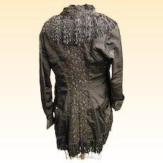 Men's Or Women's Antique Black Silk Edwardian Coat With Buggle Beads,Soutache, & Fringe..1800's