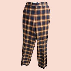 Men's Wool Plaid Golf Slacks..Dark Navy & Rust Plaid...1960's