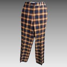 Men's Wool Plaid Golf Slacks..Dark Navy & Rust Plaid...1960's