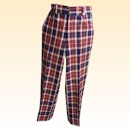 Men's Wool Plaid Golf Slacks / Pants..Wine / Navy Plaid..1960's