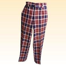 Men's Wool Plaid Golf Slacks / Pants..Wine / Navy Plaid..1960's