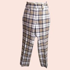 Men's Golf Slack..Gray/Camel/ White Wool Plaid..1960's