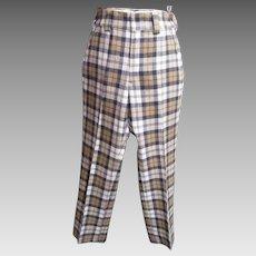 Men's Golf Slack..Gray/Camel/ White Wool Plaid..1960's