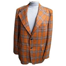 MEN's Orange & Beige Plaid Polyester Doubleknit Sports Jacket With Silk Noils By Male Call..1960's-70's