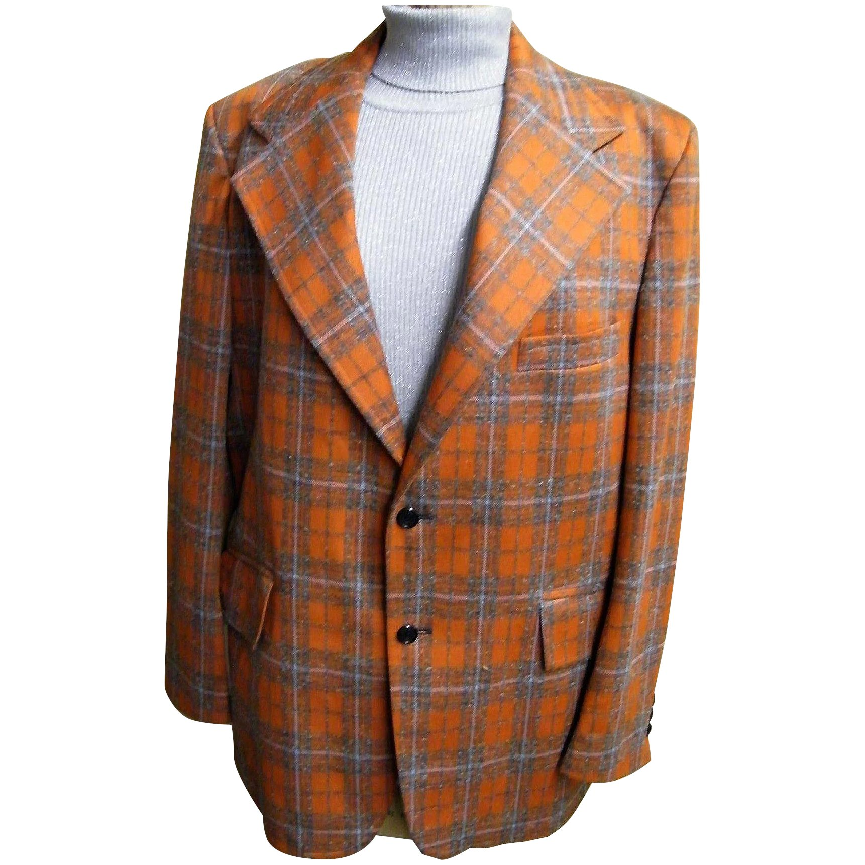 MEN's Orange & Beige Plaid Polyester Doubleknit Sports Jacket With : Lisa's  Vintage Treasures | Ruby Lane