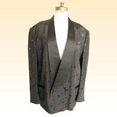 Men's Smoking Jacket / Tuxedo Jacket...Black Faille With Boomerange & Polka Dot Pattern Brocade...By Falcone..USA
