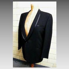 Mid-Century Black Wool Men's Tuxedo Suit..Narrow Shawl Collar..Satin Trimmed..