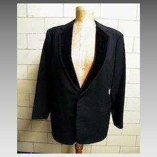 Mid-Century Men's Black Wool Tuxedo With Velvet Notched Collar With Passementerie Trim..Pants Passementerie Leg Trim