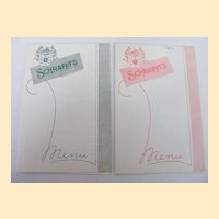 SCHRAFFT'S Fountain Menu..Wednesday, April 10,1963..Pink Trim & Green Trim..2 Available