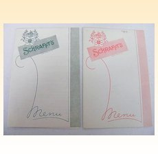 SCHRAFFT'S Fountain Menu..Wednesday, April 10,1963..Pink Trim & Green Trim..2 Available