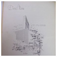 Large SCHRAFFT'S Dinner Menu..United Nations..September 28, 1964