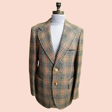 Cortefiel Of Spain Men's Sports Coat / Jacket..Checked..Size 42..1960's..Excellent Condition