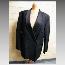 Men's 2 Piece Black Wool Tuxedo Suit With Suspenders..Studio Milano..Italy..Super 100's Australian Merino..43R