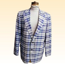 Men's Blue Madras Plaid Sports Jacket / Coat..Brooks Brothers...1970..Size 42L..Excellent Condition!