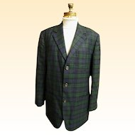 Men's Black Watch Plaid Wool Sports Jacket Coat..J Crew..Size Medium