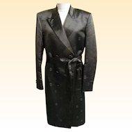 Men's Long Formal Damask Satin Tuxedo Coat With Self Belt..Size 42X..G&G Men's Clothier