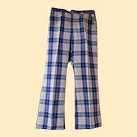 Men's Blue / White Plaid Cotton / Polyester Slacks..Madras Look..1970's..Haggar..Size 34..Excellent Condition!