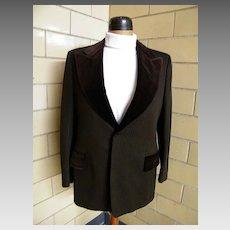 Mod Tuxedo Suit..Brown Poly Satin Stripe Knit..Velvet Lapel & Trim..Hip Hugger Pants With Velvet Stripe..Oleg Cassini..
