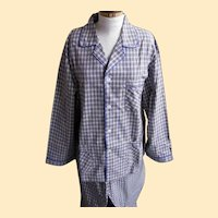 Vintage Men's Beige And Gray Check Plaid 100% Cotton Pajamas Size XXL Maker For Max By Evergreen