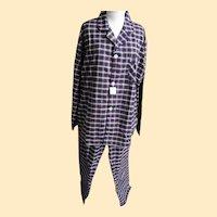 Vintage Bill Blass Oxford Weave Cotton And Polyester Tartan Plaid Pajamas Size XL..Never Worn