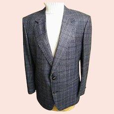 Men's Sport Coat / Jacket...Navy Silk / Wood Plaid..Le Baron..Size 42-S..Excellent Condition