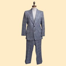 Men's Polyester Blue- On- Blue Glen Plaid Double Knit 2 Piece Suit by Westerfield...1960's....70's..Excellent Vintage Condition!