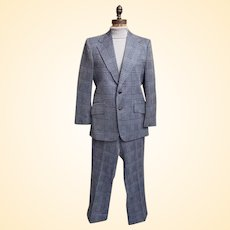 Men's Polyester Blue- On- Blue Glen Plaid Double Knit 2 Piece Suit by Westerfield...1960's....70's..Excellent Vintage Condition!