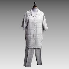 Men's Leisure Suit...Window Pane Check..Light beige..Woven Polyester..Korea..1970..Medium