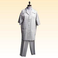 Men's Leisure Suit...Window Pane Check..Light beige..Woven Polyester..Korea..1970..Medium