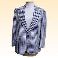 Men's Navy/Blue/White Seersucker Sports Jacket By Palm Beach..1960's..Arnel/Cotton Blend..44 Short..Excellent Condition!