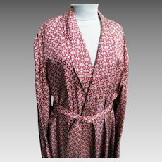 Vintage Men's Smoking Robe Dressing Gown Shawl Collar Tonal Wine Foulard Printed Acetate..Newly Dry Cleaned