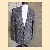 Black & White Tweed Wool Men's Sports Jacket..Made In Italy By Prestigio..Italian Size 52R...