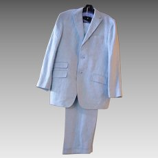 Men's Palest Aqua Blue Linen Herringbone Suit..Made In Italy
