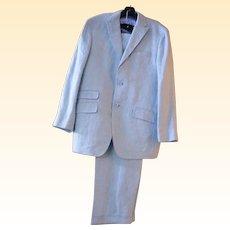 Men's Palest Aqua Blue Linen Herringbone Suit..Made In Italy