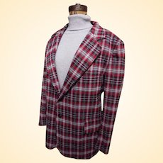 Men's Gray / Red Madras Style Plaid Polyester Double Knit Sports Jacket...1960's / 70's...Excellent Condition
