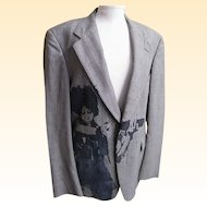 "Men""s Blazer..Boy Screen Print..Glen Plaid Wool..Wallachs..1970's"