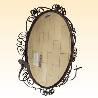 Wrought Iron Mirror With 2 Candle Holders...Oval...Beveled Glass...Spanish Style