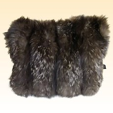 Antique Fox Fur Muff..Brown With Silver Tips..Silk Lined..Excellent Condition!