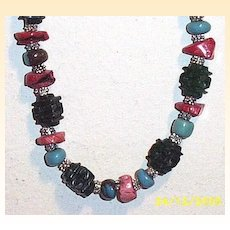 """Artisan Dark Green Carved Jade Pagoda & Coral Chips & Turquoise Rondels...26.5"""" Necklace"""