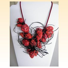 Coral Bib Ethnic Necklace..18 Coral Nuggets & Black Licorice Strings On Wine Leather Cord..Adjustable Chain Closure
