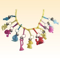 """1980'S Plastic Charm Necklace..Yellow Plastic Chain..Assorted Colored Charms..23"""" Long"""