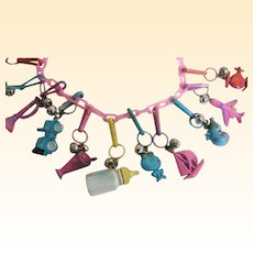 """Pink Plastic Charm Necklace..1980's..Assorted Charms & Colors..1980's..23"""" Long"""