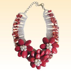 Hand Carved Coral Floral Adjustable Choker Necklace With Coral Chips, Pearl, And Crystal Beaded Accents