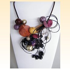 Artisan ETHNIC Collage of Semi-Precious Stones / Wood / Glass On Adjustable Leather Cord