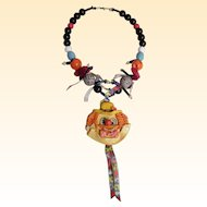 Striking Circus  Clown Folk Art Necklace With Large Colorful Beads