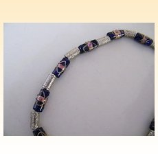 """Italian Murano Glass Wedding Bead Necklace..Navy Beads..Barrel Shaped..Silver Accents..19"""" Long"""