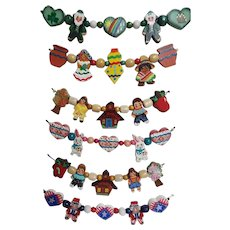 Hand Painted Wood Cookie Cutter THEME Necklaces On Silk Cords...Set Of 6 Themes...